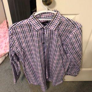 Purple plaid dress shirt